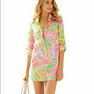 New Lilly Pulitzer Tunic All Nighter Flamingo M